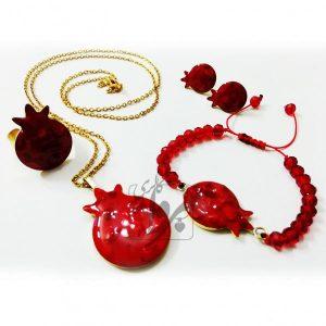 ست گردنبند، دستبند، گوشواره و انگشتر انار سفارشی ویژه شب یلدا ساده